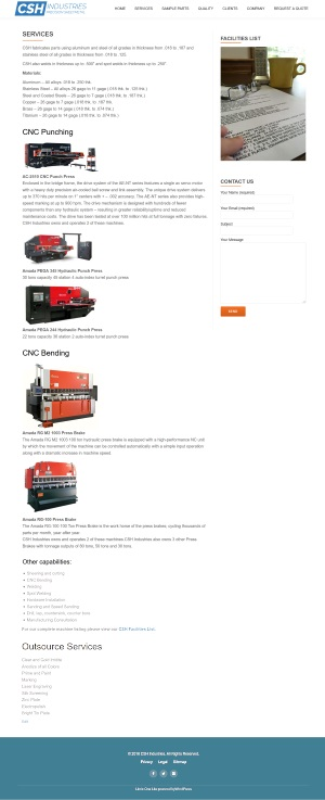 CSH Industries - Services page