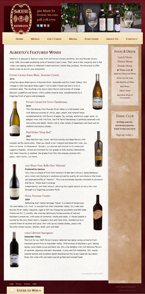 Alberto's Ristorante - Alberto's Featured Wines page