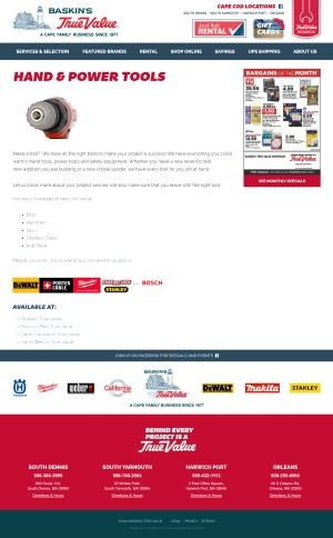 Baskin's True Value - Hand & Power Tools page