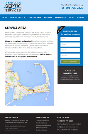 Cape Cod Septic Services - Service Ares page
