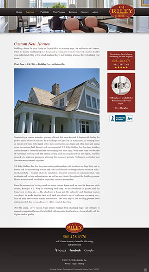 C.J. Riley Builder, Inc. - Custom New Homes page