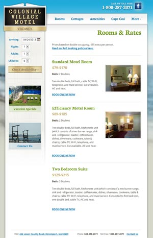 Colonial Village Motel Rooms page
