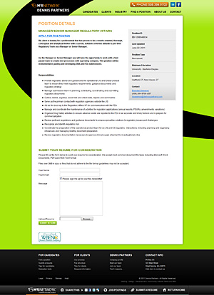 Dennis Partners Position Details page