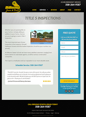 DiBuono Sewer & Drain - Title V Inspections page