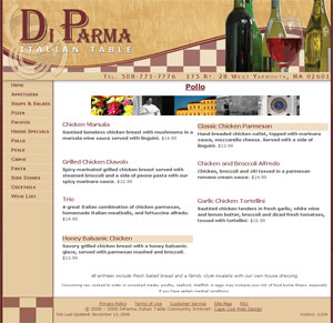 Di Parma Italian Table inside page