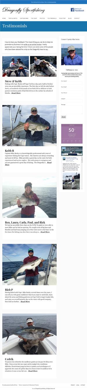 - Dragonfly Sportfishing Testimonials page