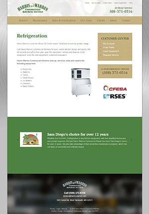 Harris-Warren Commercial Kitchen Service - Refrigeration page