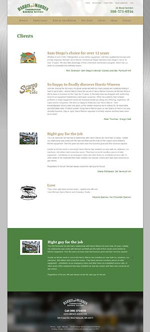 Harris-Warren Commercial Kitchen Service - Clients page