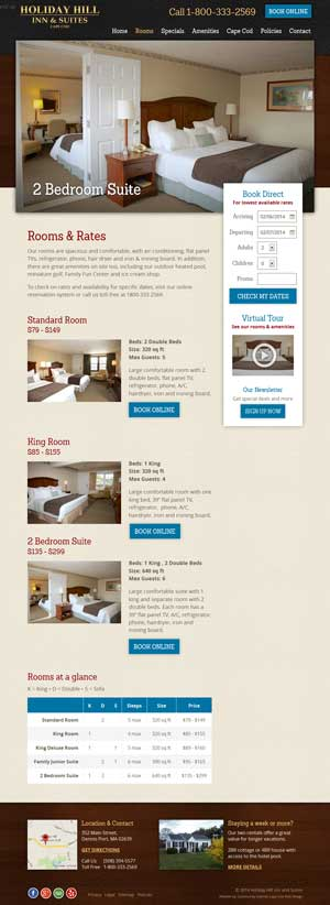 Holiday Hill Inn & Suites - Rooms & Rates page