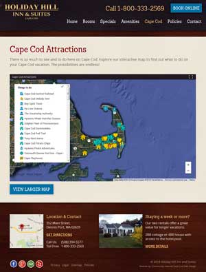 Holiday Hill Inn & Suites - Cape Cod Attractions page