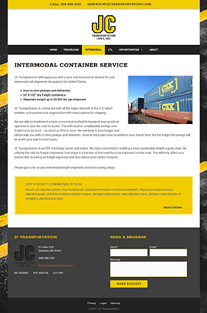 JC Transportation - Intermodal Container Service page