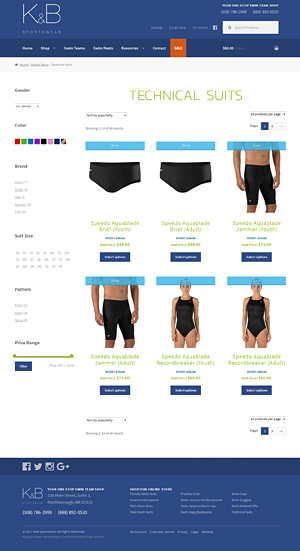 K&B Sportswear category page
