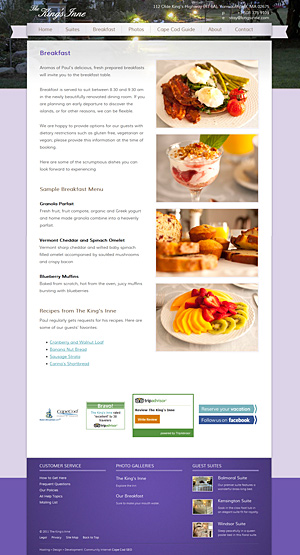 King's Inne Breakfast page