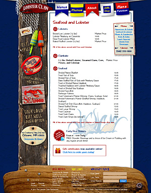 The Lobster Claw Restaurant Menu
