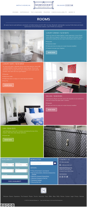 Nobnocket Boutique Inn - Rooms page