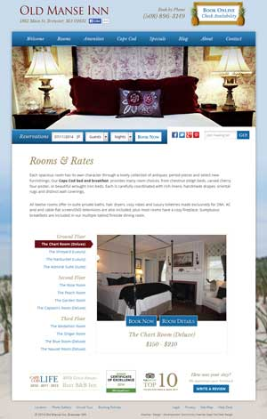 Old Manse Rooms and Rates page