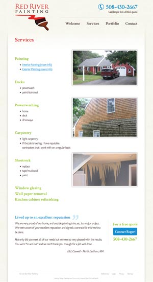 Red River Painting Services page