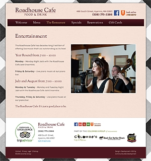 Roadhouse Cafe Entertainment page