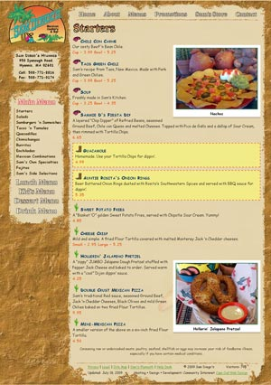 Sam Diego's Mexican Cookery menu page