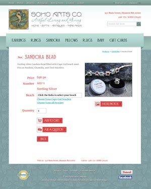 SoHo Arts Co. - Sandora Bead Detail page