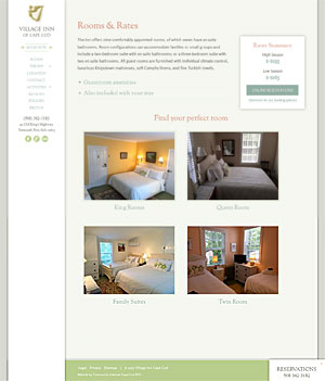 The Village Inn - Rooms & Rates page