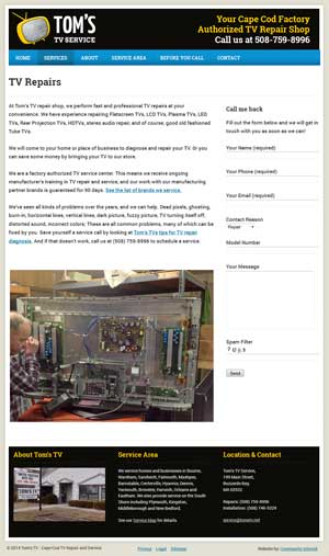 Tom's TV - TV Repairs page