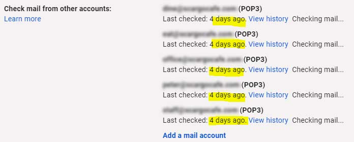 Gmail's check mail from other accounts interface, showing 4 days since last fetch